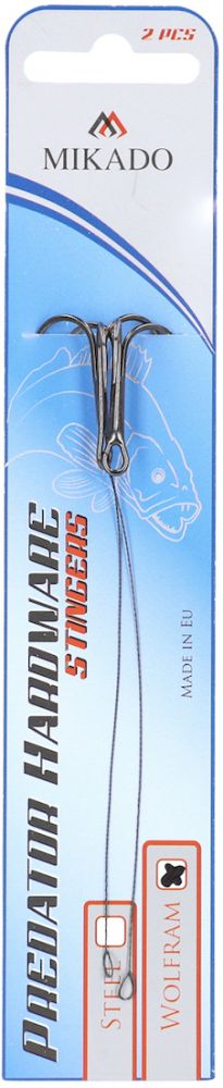 Hotový nadväzec z wolframového lanka Predator 7cm x 5kg/trojháčik:8 bal.2ks Mikado