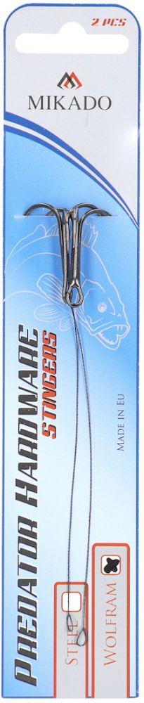 Hotový nadväzec z wolframového lanka Predator 9cm x 8kg/trojháčik:4 bal.2ks Mikado