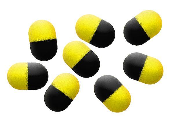 MIKADO Penové plávajúce bolies - POP UP ZIG RIG FOAM Barrels 12mm YELLOW/BLACK  (9ks)