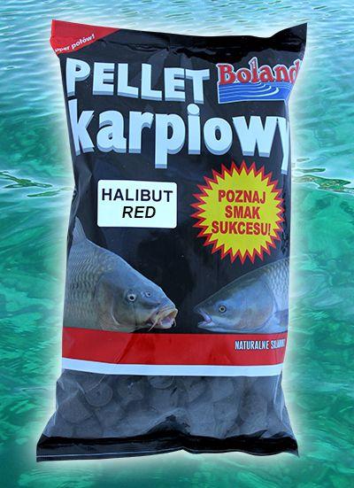 BOLAND Kaprové pelety 1kg, 12mm - RED HALIBUT (s dierou)