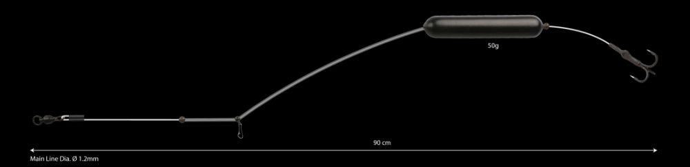 MIKADO Hotový sumcový nadväzec - EARTH WORM READY RIG - 50g/90cm
