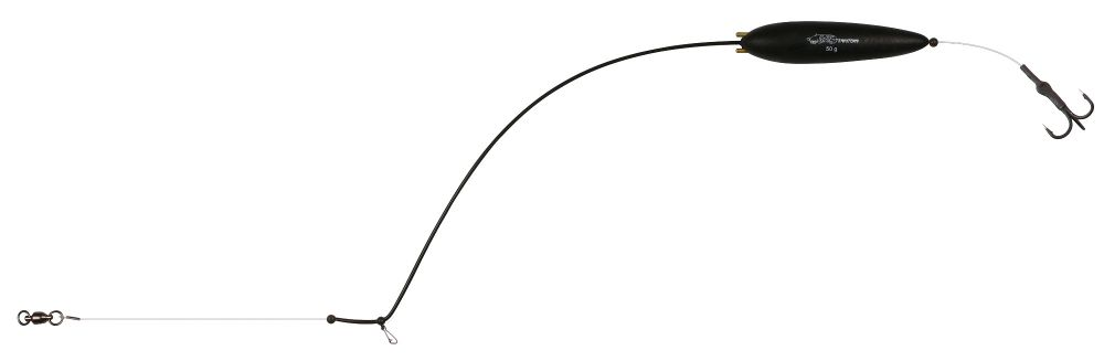 MIKADO Hotový sumcový nadväzec - EARTH WORM READY RIG RATTLE - 50g/90cm
