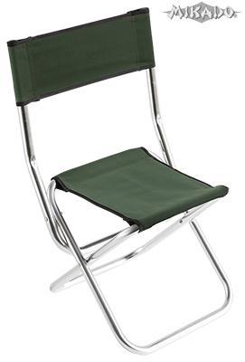 MIKADO Rybárska stolička s operadlom - hliník zelená (32x44x36/70cm)