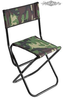 MIKADO Rybárska stolička s operadlom camou (31x41x38/70cm)