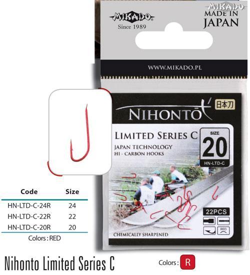 Háčik NIHONTO-LIMITED SERIES C (veľ.22) červený bal.22ks Mikado