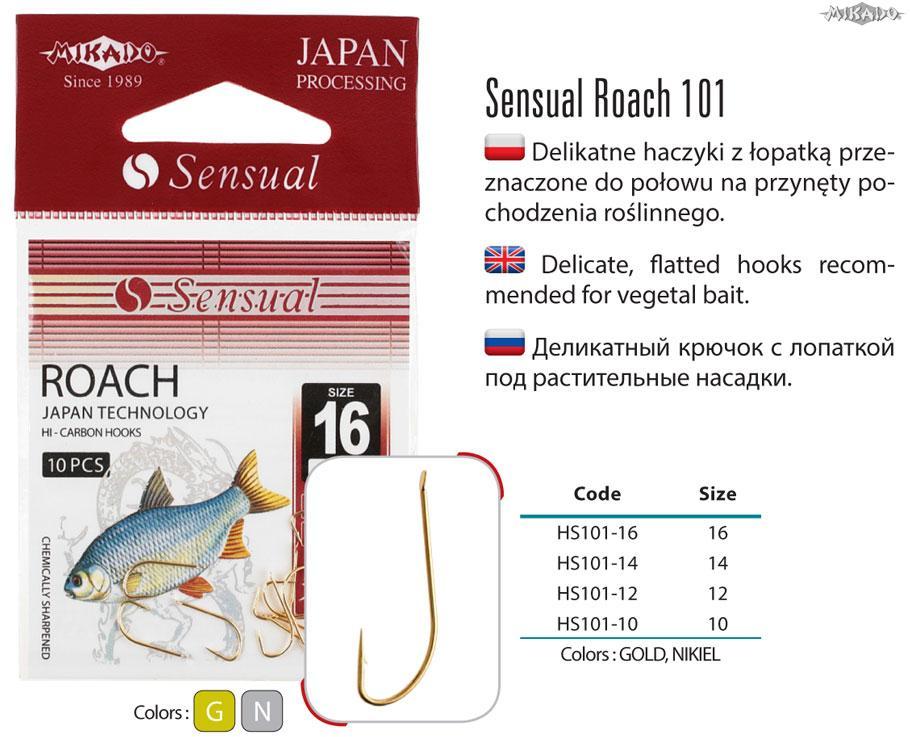 MIKADO Háčik SENSUAL-ROACH s lopatkou latý (10ks)
