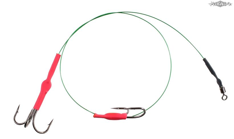 Hotový nadväzec z oceľ. lanka 2xtrojháčik 40cm/10kg (trojháčik v.č.1,zelený) bal.2ks Mikado